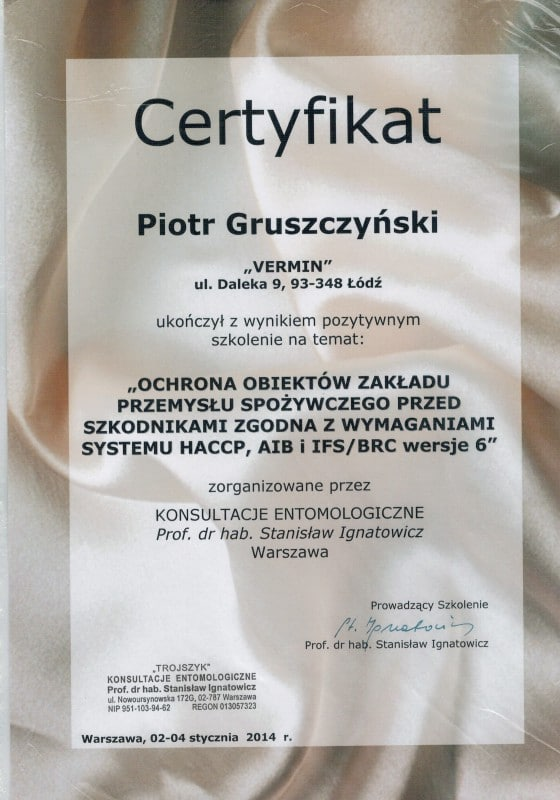 Vermin Certyfikaty